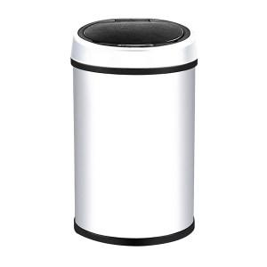 MINYIN/敏胤 不锈钢圆形感应垃圾桶 XF13-6 φ250×440mm 13L 白色 1个