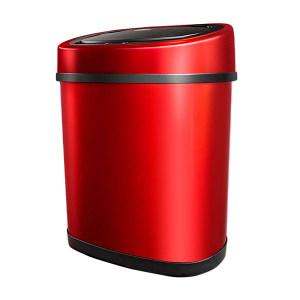 MINYIN/敏胤 不锈钢方型感应垃圾桶 XF12-1 280×350×300mm 12L 红色 1个