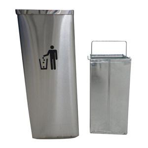 ZIREN/滋仁 不锈钢方形摇盖式垃圾桶 LT-046 240×240×610mm 14L 不锈钢本色 1个