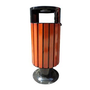 ZIREN/滋仁 圆形户外垃圾桶 LT-047 φ375×905mm 20L 木质色 1个