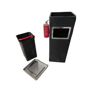ZIREN/滋仁 方形烤漆垃圾桶(含烟灰缸) LT-043 直径24cm 高62cm 黑色 1个