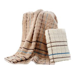 KING SHORE/金号 纯棉提缎波浪面巾 GA1016 34×70cm 棕色 100%纯棉(缎档及装饰部分除外) 84g 1条