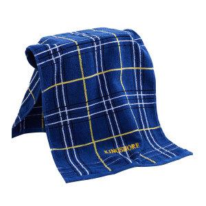 KING SHORE/金号 英伦格纹纯棉提缎毛巾 3149H 34×78cm 蓝色 100%纯棉(缎档及装饰部分除外) 100g 1条