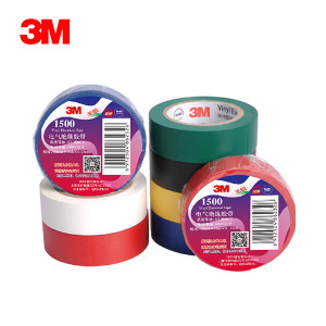 3M PVC电气绝缘胶带-普通型 1500 黑色 18mm×10m×0.13mm 1卷