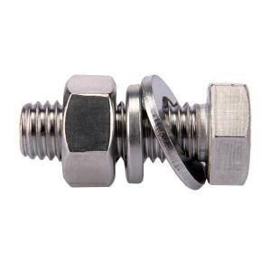 ZKH/震坤行 外六角螺栓套件 304 本色 全牙 M12×50 配1平垫1弹垫1螺母 1套
