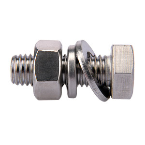 ZKH/震坤行 外六角螺栓套件 304 本色 全牙 M16×140 配1平垫1弹垫1螺母 1套