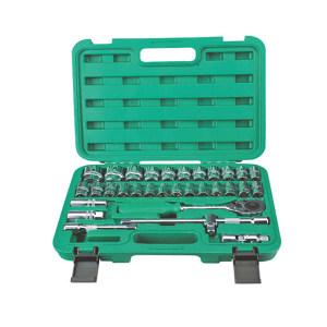 CHANGLU/长鹿 32件12.5mm系列镜面铬钒套筒方盒组套(自脱棘轮) 101801 32件 1套