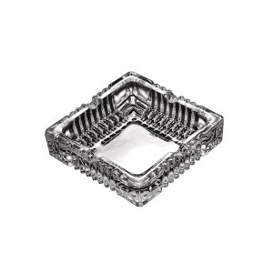 QINGPINGGUO/青苹果 方形烟灰缸 YG1016-3 12×12×3.5cm 透明 水晶玻璃 1个