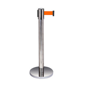 JINANXING/锦安行 不锈钢伸缩带隔离柱 JCH-L200 本色 配2m橙色伸缩隔离带(含拉头) 1套