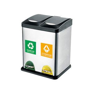 MINYIN/敏胤 410脚踏式不锈钢双捅分类垃圾桶 L2016  送贴纸  可回收+不可回收 300×265×395mm 16L 1个
