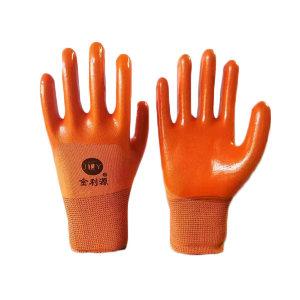 JLY/金利源 十三针尼龙3/4浸PVC涂层手套 3/4PVC浸胶手套 均码 橘色 12副 1包
