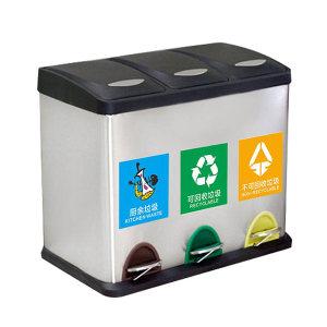 MINYIN/敏胤 脚踏式不锈钢三桶分类垃圾桶 L2045 480×340×650mm 15L×3 送全套贴纸(干+湿+可回收+有毒有害) 1个